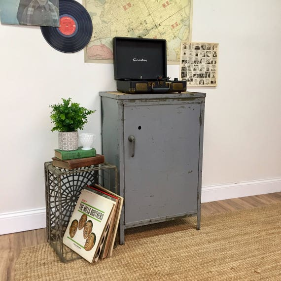 Industrial Cabinet - Hipster Furniture - Vinyl Record Storage - Rustic End Table - Wood and Metal Cabinet - Man Cave Furniture - Vintage Hip