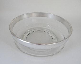 "Vintage Mid Century Dorothy Thorpe 8.5"" Straight Side Salad Bowl w/ Sterling Silver Rim - Mad Men Style - Elegant Mid Century Modern Design"