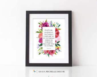 Psalm 86:11 in SPANISH | Salmos 86 | Style 1102 |  Bible Verse Printable | Scripture Wall Art Christian Cristiano Carteles DIGITAL Art