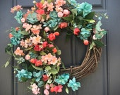 Coral Turquoise Wreath Spring Wreaths Spring Door Wreaths Door Decor Spring Floral Wreaths Gift for Her Housewarming Mothers Day Summer