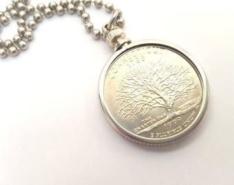 Connecticut State Quarter Coin Necklace with Stainless Steel Ball Chain or Key-chain - 1999