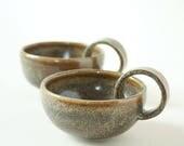 Set of 2 Stoneware Coffee Cups loop handles