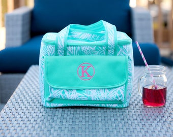 Poolside Palm Cooler Lunch Tote - May be Monogrammed - Tropical Mint Design Personalized Insulated Bag