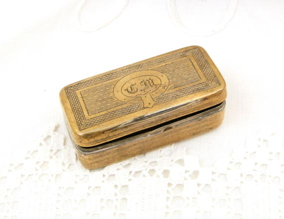 Antique French Victorian Rectangular Small Brass Box Engraved with the Monograms CM, Metal Snuff Box with Initials CM From France, Retro Tin