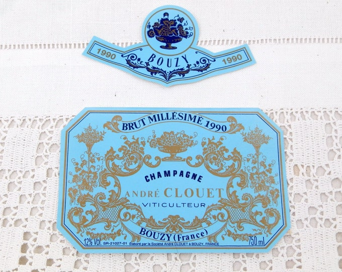Vintage Unused Millésime 1990 Champagne Bottle Paper Label Andre Couet Bouzy, French Decor Item, Wine from France, Wedding