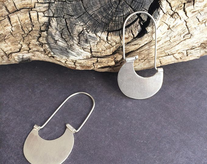 Sterling silver hook earrings - tribal earrings - half moon hoop earrings