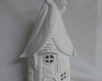 """Fairy House 10"""" Ceramic Bisque, Ready To Paint"""
