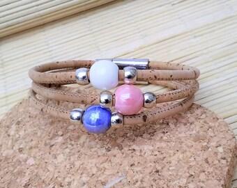 Portuguese Cork Bracelet, Ceramic Beads, Portuguese jewelry, Portuguese Bracelet, Portuguese cork, Ecofriendly, Cork