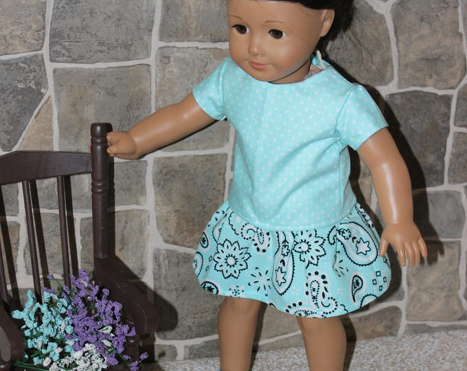 "Ready for School, Light Green Print Top, Skirt and shoes. To fit the likes of AG and other 18"" dolls FREE SHIPPING"