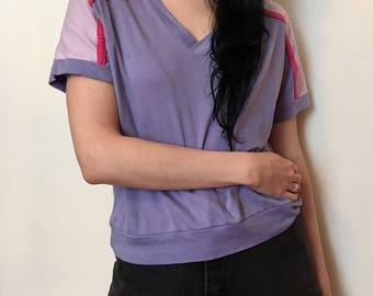 80s purple sporty top, vintage raglan shirt, sports t shirt, medium large - vintage -