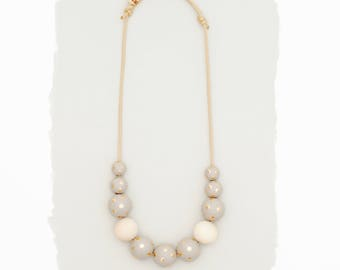 Simple Wood Necklace // Gray and Gold Polka Dot