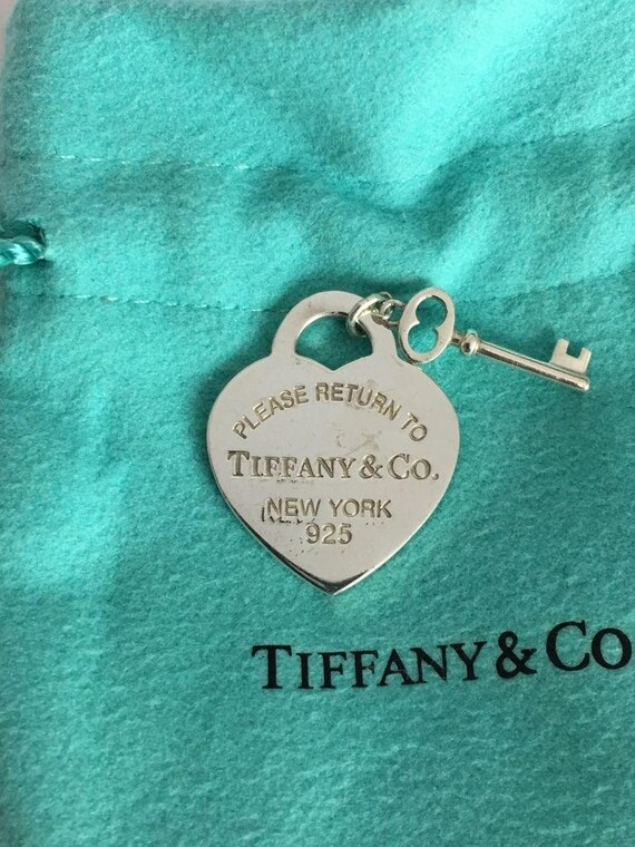 Authentic....Tiffany & Co. Sterling Silver 925 Please Return To Heart Key Pendant / Charm.