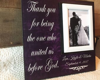 Christian Wedding Officiant Gift ~ Custom Wedding Frame ~ Thank You Gift ~ Thank You For Uniting Us Before God ~Personalized Wedding Gift