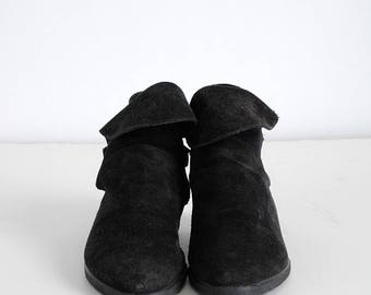 1980s vintage black suede slouch ankle boots * Glace'e @6 1/2 * SH062
