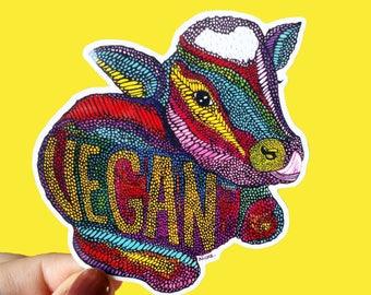 Vinyl Vegan Sticker - Waterproof sticker, Cow Sticker, Animal Decal, Laptop Sticker, Animal Welfare, Bumper Sticker