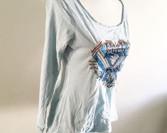 Light blue t-shirt- embroidered heart top