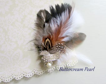 Boho Rustic Groom Boutonniere, Feather Lapel Pin, Mens Mini Corsage, Groomsmen Pin, Prom Boutonniere, Country Wedding Bout, Fall Lapel Pin