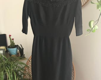 Black 1960's Bateau Neckline with Beaded Accents
