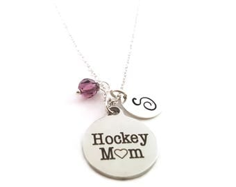 Hockey Mom Necklace - Birthstone Necklace - Personalized Necklace - Initial Necklace - Sterling Silver Necklace - Gift For Her