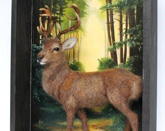 Needle Felted Stag Sculpture, Shadowbox, Diorama,Forest, Painting