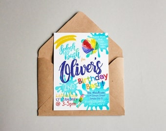 Splash Bash | Birthday Invitation Boy | Boy Birthday Invitation | Digital Invitations | Pool Party | Personalised| Printable