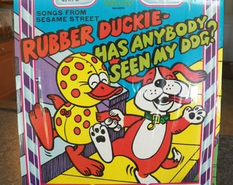 Vintage SESAME STREET~Rubber Duckie++  Peter Ran 45 rpm Record Excellent