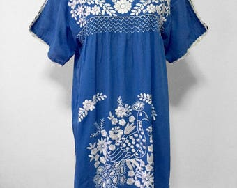 Mexican Embroidered Dress Cotton Tunic In Blue, Peasant Dress, Oaxacan Dress, Boho Dress