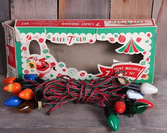 Vintage String Mid Century 1950's Christmas Holiday Lights with Safe T Glow Box 15 Bulbs Works