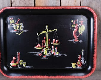 1960's Mid Century Pharmacy Themed Druggist Pills Neon Color Barware Drink Serving Tray