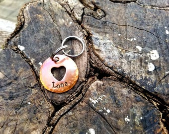 """Personalized Hand Stamped 1"""" Heat Colored Copper Heart Large Dog Tag Custom Hand Stamped Copper Heart Dog Tag Personalized Cute Heart Tag"""