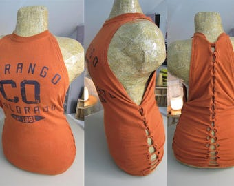 Durango, Colorado Refashioned Burnt Orange T-Shirt into Tank Top with Back and Side Woven Cut-Outs