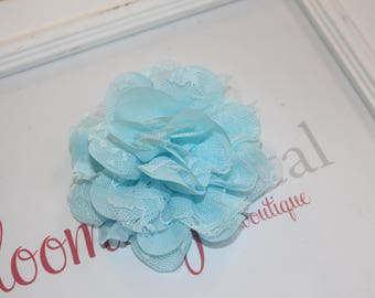 Baby Blue Lace Chiffon Flower Clip
