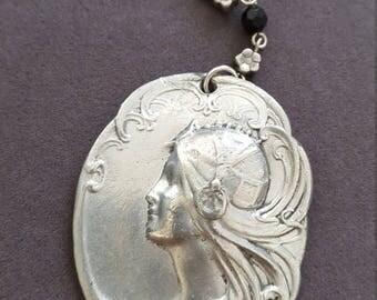 Vintage Art Nouveau Revival Pewter Pendant Necklace // Mucha Maiden // 1970s 1980s Statement Necklace