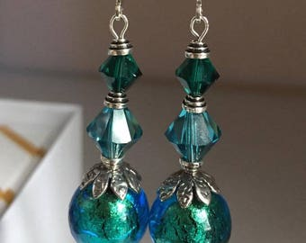 Gorgeous Murano Glass and Swarovski Earrings