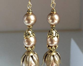 Gorgeous Antiqued Brass and Swarovski Pearl Earrings