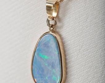 Australian Boulder Opal Pendant in 18K Gold