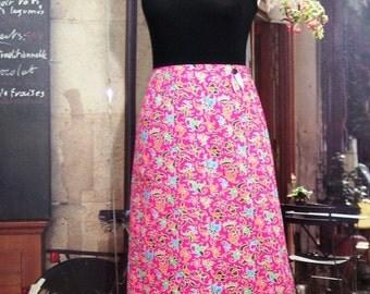 A-line romantic T 38 S cotton pink batik floral print fuchsia was