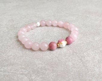 Pink Bracelet - Rose Quartz - Compassion & Peace - Gifts For Her - Womens Bracelet - Yoga Bracelet - Stretch Bracelet - Item #384