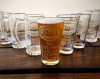 Etched Father's Day Gift Glass - Dad Glass Deep Etched - Gift for Dad, New Dad, Fathers Day Pint - Dad Beer Glass, Father Beer Glass