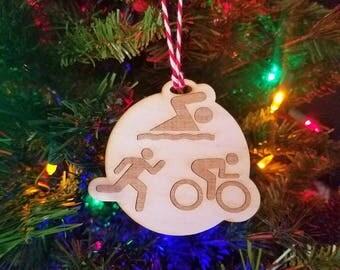 Triathlon Ornament - Triathlon Christmas Ornament - Triathlon Gift - Gift for Triathlete - Ironman Gift - Triathlete Gift