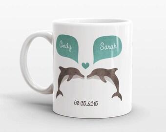 DOLPHIN Mug, Couple Mug, Personalized Mug, Engagement Gift, Anniversary Gift, Wedding Gift, Unique Coffee Mug, Coffee Cup, Animal Mug