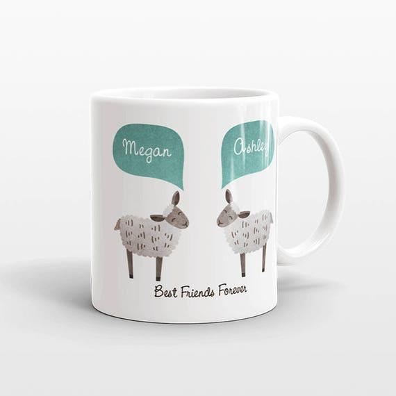 Best Friend Gift, Sheep Mug, Lamb Mug, Personalized Best Friend Mug, Animal Best Friend Coffee Mug, Unique Friendship Gift, Birthday Gift