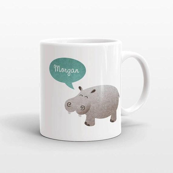 Custom Name Mug, Hippo Mug, Hippopotamus Personalized Mug, Unique Coffee Mug, Office Mug, Best Friend Gift, Birthday Gift, Animal Lover Gift