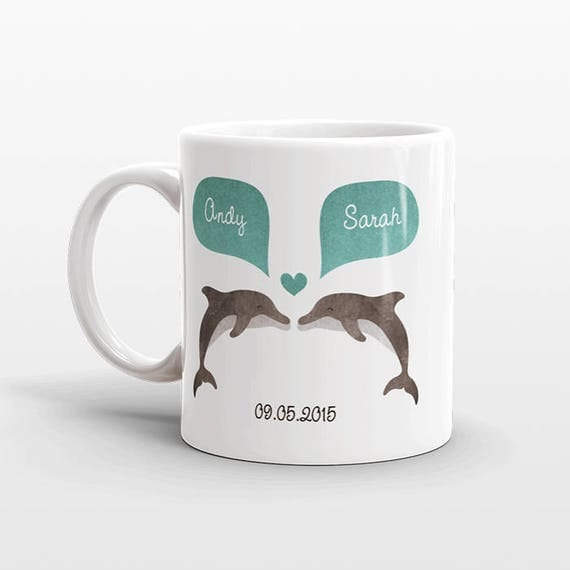 DOLPHIN Mug Valentines Day Gift for Her Him Personalized Couple Mug Unique Engagement Gift Anniversary Gift Wedding Gift Animal Coffee Mug