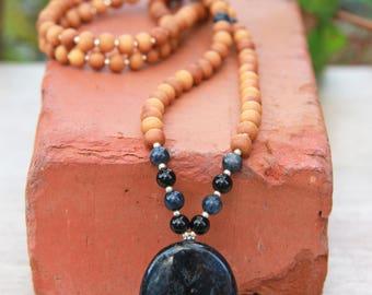 Dumortierite Sandalwood Mala  - Meditation Inspired Yoga Beads BOHO chic / mala beads