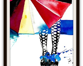 Rainy Day Watercolor Illustration, Fashionista Wall Art, Umbrella Illustration, Wanderlust Art Poster, Watercolor Painting of a Girl, Blue