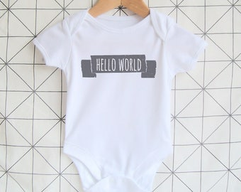 Hello World - New Baby Onesie, Newborn Onesie, Unisex Baby Bodysuit, Baby Shower Gift, Coming Home Outfit, Hospital Onesie, Welcome Outfit