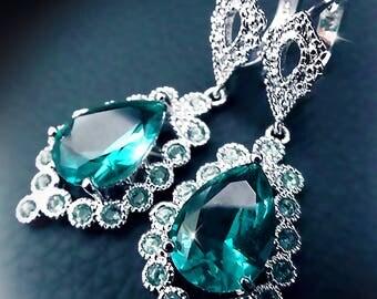 Vintage Aquamarine earrings, chandelier earrings, green crystal earrings, sterling silver earrings, statement earrings, boho jewelry, cyan