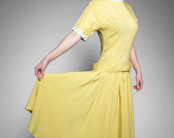 1940's vintage yellow dress