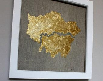 Gold Leaf Map of London on Linen - Framed